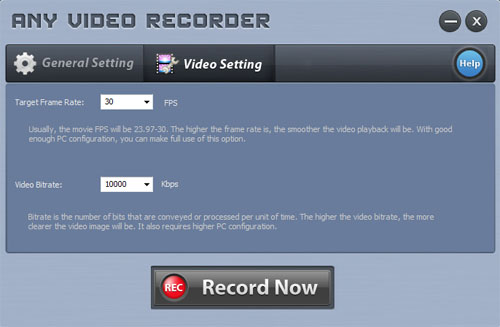 Setting Window of Any Video Recorder